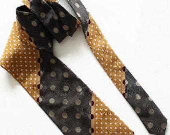 SAND Made in ITALY Designers Silk necktie vintage mens necktie 100% Silk gold gray dark red
