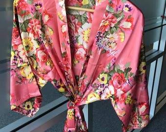 Bridal Floral Satin Robes, Satin Wedding robes, Get ready robe, Silk bridesmaid Lingerie, Coral bridesmaid robes