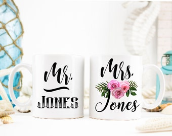 Sr. y Sra. taza Set, novia y novio taza Set, Señor y señora aniversario tazas, boda par taza Set, Custom Señor y Sra. taza Set, Señor y señora