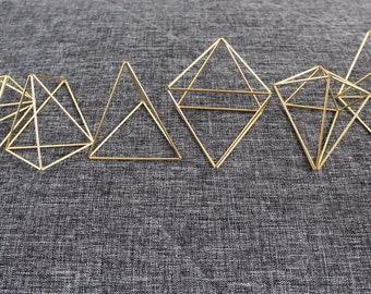 Set of 6 Small Himmeli, Air Plant Holder, Brass Geometric Ornaments, Scandinavian Mobile