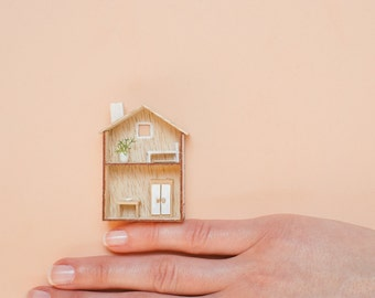 Little wooden house Nordic style with miniature fireplace / Nordic wooden house MINIATURE fireplace