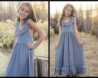 Girls Ready To Ship Gray Maxi Dress