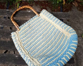 Vintage Woven Bag with Bamboo Handles