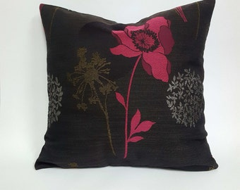 Charcoal Grey Throw Pillow Cover, Hot Pink Pillow Cover, Black and Silver Pillow, Black and Pink Pillow Cover, Pink Flower Pillow Cover
