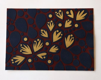 Original modern collage art: gold leaves on navy and burgundy