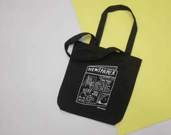 Newspaper Black tote bag