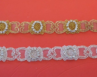 "Crystal Rhinestone Trim by the Yard-Wholesale Silver or gold Bridal Trim- rhinestone banding- 3/4"" Crystal Trim -Rhinestone Applique"