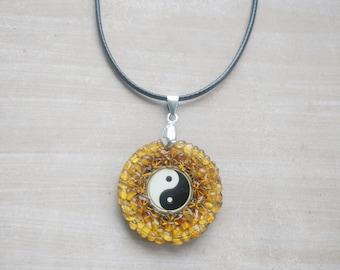 Yin Yang Amber Amulet Handmade Charm Necklace - Spiritual Buddhist or New Age Jewelry Gift
