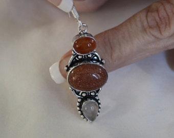 Sun Sitara Earrings with Carnelian & Rose Quartz Stones!