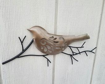 Metal Wall Art, Home Decor, Bird Wall Art, Black Metal Wall Decor, Metal Wall Decor, Metal Leaf Decor, Bird On Branch, Brass Metal Wall Art