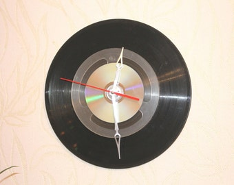 Wall clock - Recycled Vinil Tape CD clock - The history of recording  - Geeky Wall clock - Audio lovers -  Gift for Him
