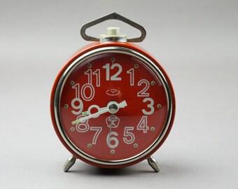 Alarm, clock, table clock, mechanical clock, watches USSR, Soviet watch, Soviet alarm clock, Vityaz, decor, vintage alarm clock