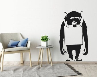 Banksy Wall Decal Monkey With Notice Board , Banksy Wall Art Sticker,  Wallpaper, Art Part 44