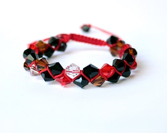 black red bracelet crystal jewelry shamballa bracelet red black jewelry crystal bracelet gifts for her mixed color bracelet prom gifts Q1