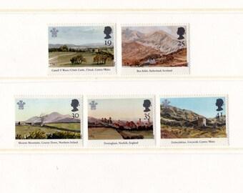 1994 UK Landscapes Mint Unused Vintage Postage Stamps set; paintings by Prince Charles of Wales, Chirk, Sutherland, Norfolk, British,England