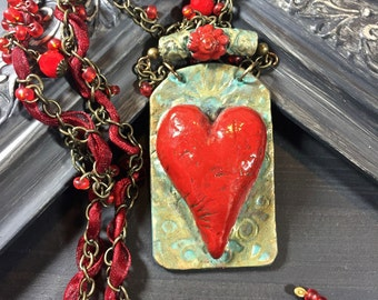 Bohemian Heart Necklace, Red Heart Necklace, Unique Necklaces for Women, Gift for Her, Statement Necklace, Boho Gifts, Hippie
