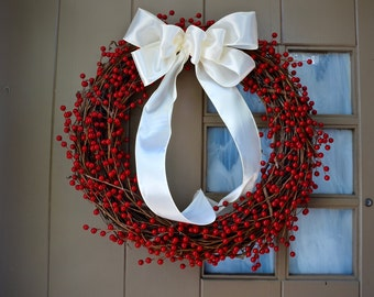 Red Berry Wreath - Christmas Berry Wreath - Grapevine Wreath - Red Wreath - Holiday Wreath - Door Wreath - Housewarming Gift - Holiday Gift
