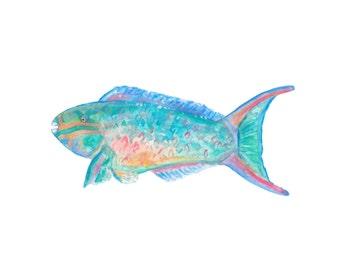 Queen Parrotfish - Watercolor Print. Beach House Decor.