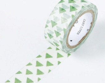 Green Triangle Japanese Washi Tape - 15mm X 7 metres