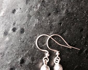 Sterling silver handmade ball earrings