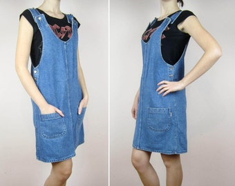 vintage 80's 90's ladies pinafore blue denim dress S M