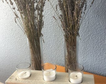 wood block candle holder