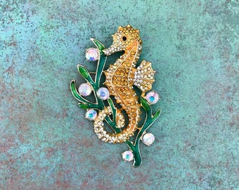 Rhinstone Seahorse Brooch, Doubles as a Pendant, Gold, Yellow, Shiny, Sea Creature, Ocean, Beach, Animal, Unique