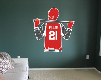Baseball Decal Baseball Wall Decal Custom Name and Number 50 Colors 2 Colors per Decal