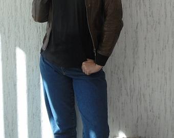 Vintage Rock'n Blue Leather Biker Jacket size S