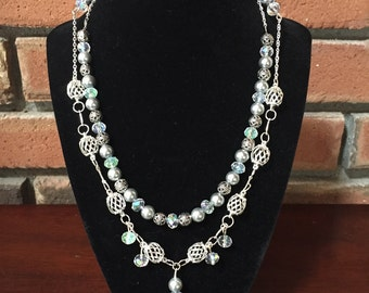 Handmade Beaded Double Tier Strand Necklace