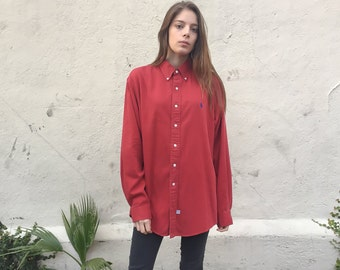Vintage Ralph Lauren Shirt // 90s Polo Button Up Red Cotton Long Sleeve - Large to Extra Large xl