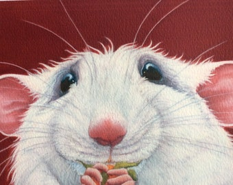 white rat painting on canvas