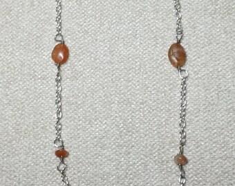 Beaded Oval Sunstone Necklace