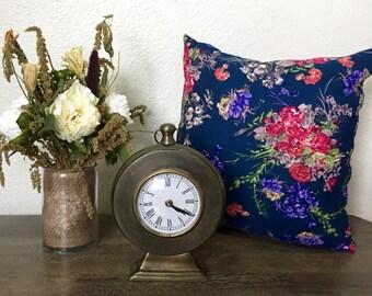 Navy Blossom Decorative Pillow
