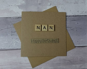 Scrabble birthday card, Handmade card for Nan, Happy Birthday card, Scrabble tiles birthday card, Greetings card, Wooden alphabet tiles