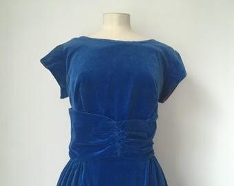 Stunning Genuine 1950s Vintage Blue Velvet Dress