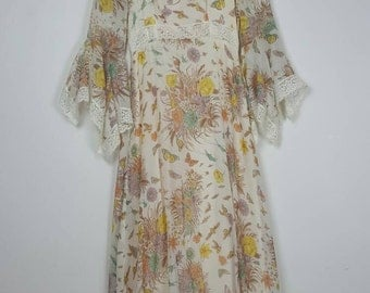 1970's Angel Bell Sleeved Floral Bumble Bee Butterfly Maxi Dress