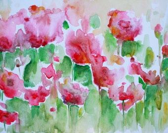 8 x 10 Original Watercolor, Field of Red Flowers