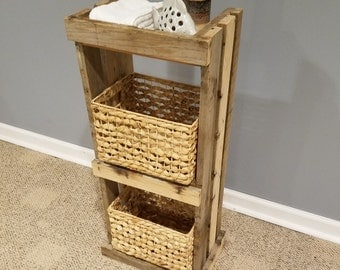 Reclaimed rustic wooden bathroom stand