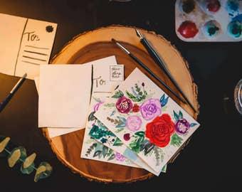 Handpainted Postcard Set (5 Unique Designs)