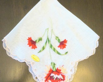 Red Carnation Hanky, Floral Handkerchief