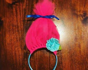 Trolls headband, princess poppy, pink, poppy, trolls headband with flower, dress up, costume, trolls, princess, pink hair, trolls hair