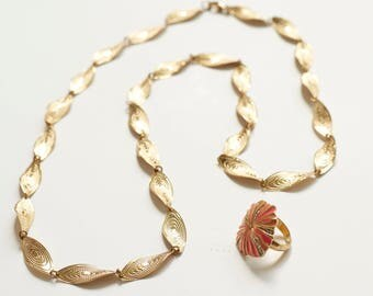 80's Pucci Inspired Necklace Set, Necklace, Ring, Enamel, Pink, Orange, Resort, Stamped