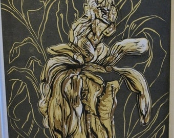 Unframed Reduction Linocut Peony #6 (mat not included)