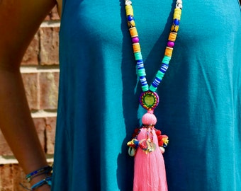 Pastel Pink Boho Long Tassel Necklace