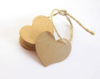 20 kraft heart tags, Wedding favor tags, Heart shaped tags, Gift tags, Kraft gift tag, Wedding tags, Favor tags, Kraft paper tags