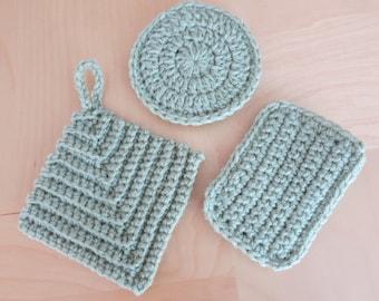 Multi-purpose Eco Tawashi wash cloth and sponge set of 3