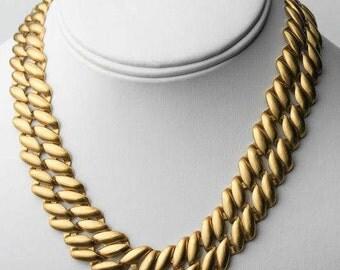 VINTAGE MONET Gold Tone Flat Woven Choker Necklace