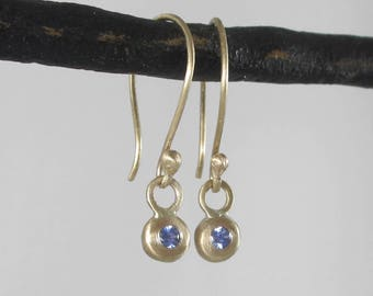 Tiny Button Earrings * 14k Gold and Sapphire Small Drop Dangle Earrings