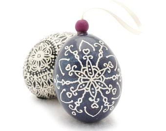 Christmas Ornaments Handmade - Pysansky Eggs Ornament Keepsake - Hand Dyed Zentangle Art Doodle Drawing Style